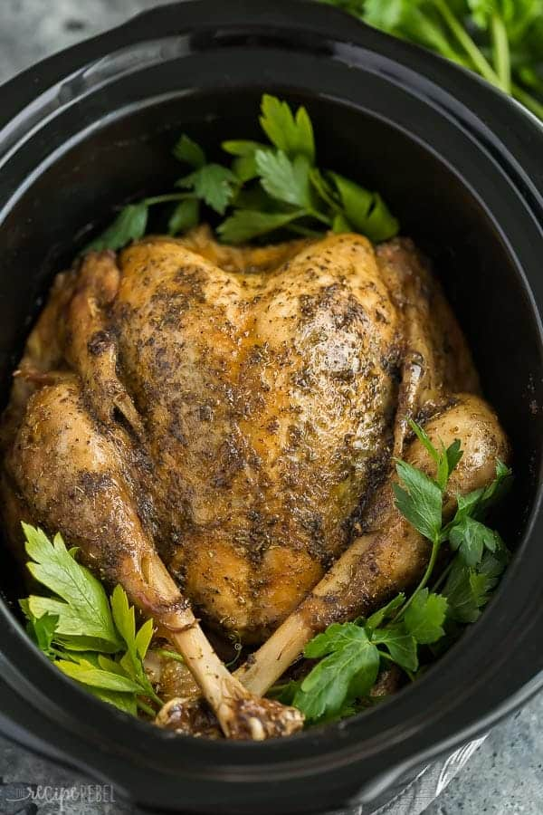 crockpot turkey in slow cooker whole with fresh parsley sprigs as garnish