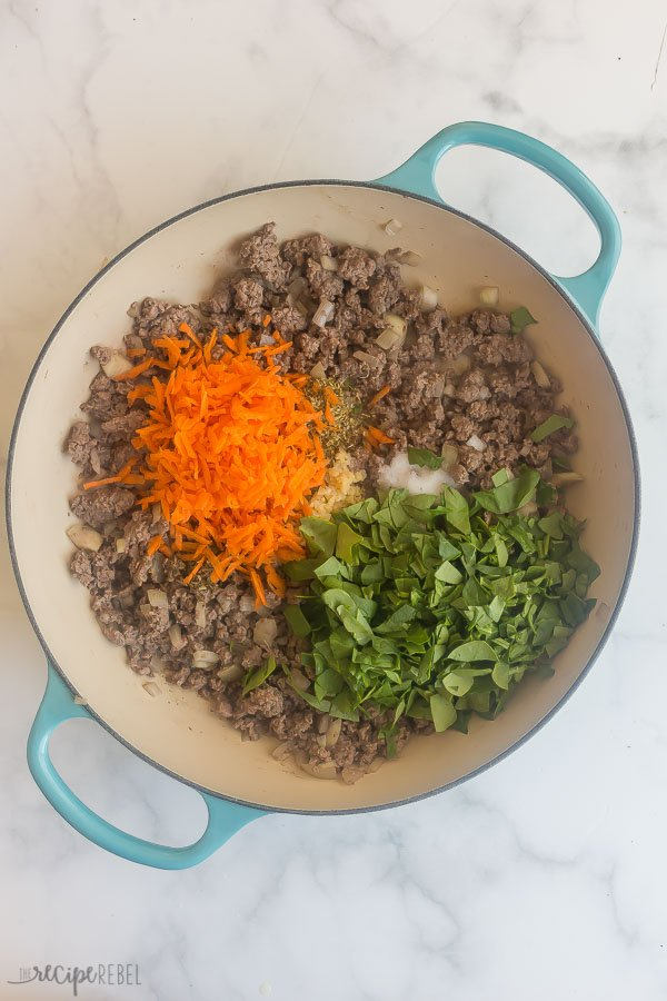 veggies added to cooked ground beef and onions