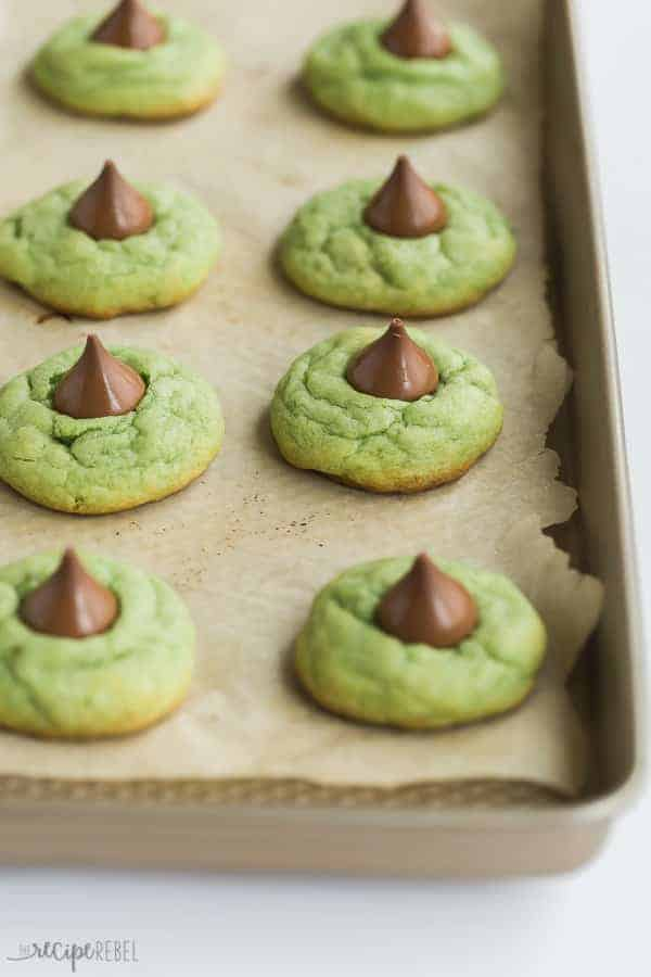 mint hershey kiss cookies on baking sheet