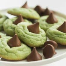 hershey kiss cookies on white tray
