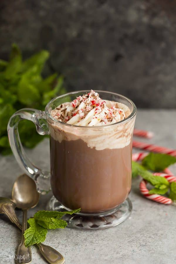 peppermint mocha in glass mug