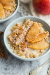 apple cinnamon oatmeal with milk