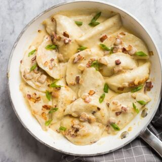 perogies recipe in white pan overhead