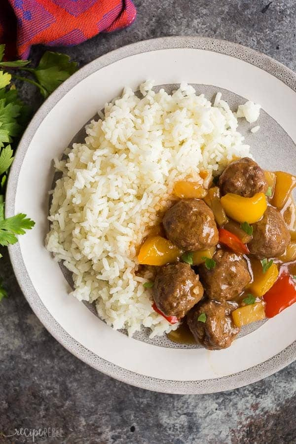 crockpot meatballs over rice
