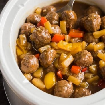 sweet and sour crockpot meatballs in slow cooker