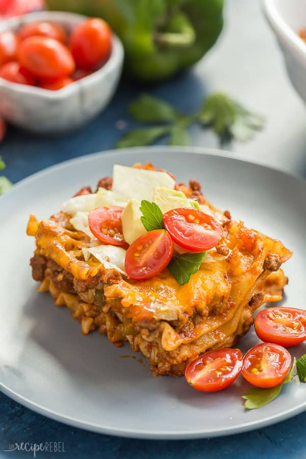 taco lasagna recipe piece plated