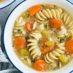turkey noodle soup close up