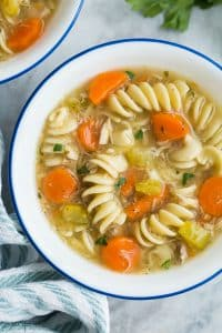 turkey noodle soup close up