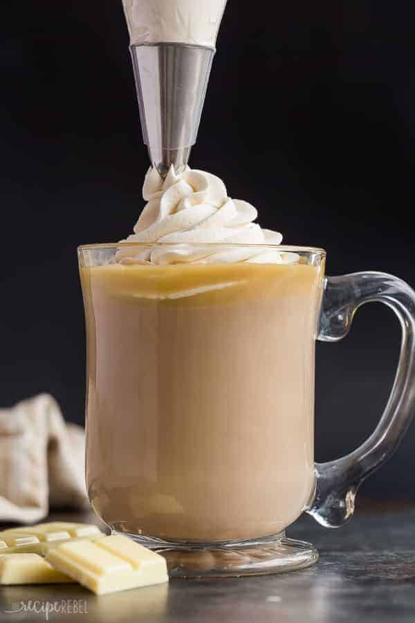 white chocolate mocha with whipped cream