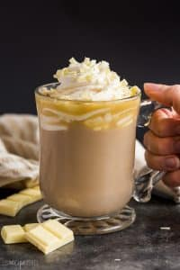 white chocolate mocha in glass mug
