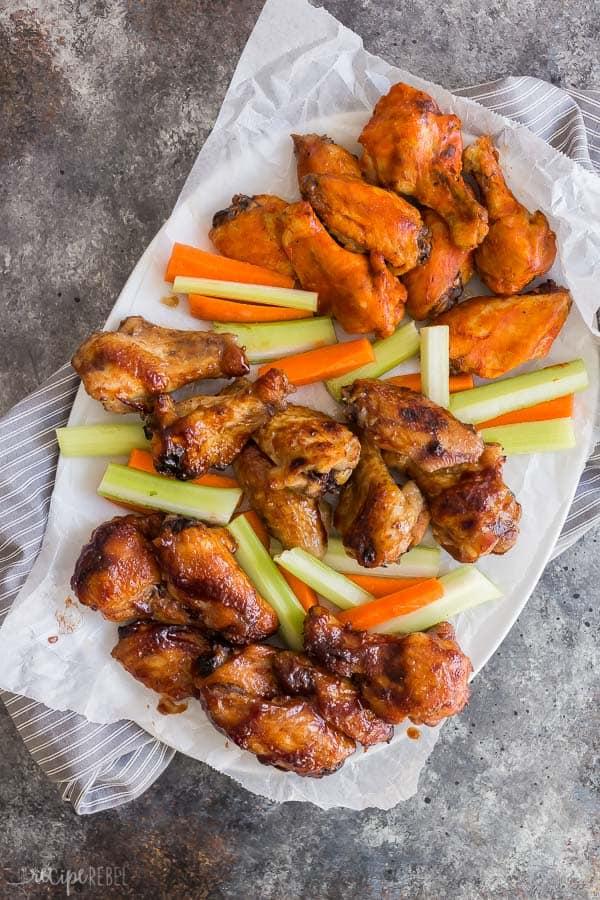 slow cooker chicken wings crockpot on platter