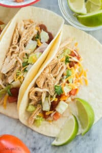 instant pot chicken tacos close up