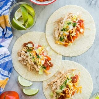 instant pot chicken tacos on flour tortillas