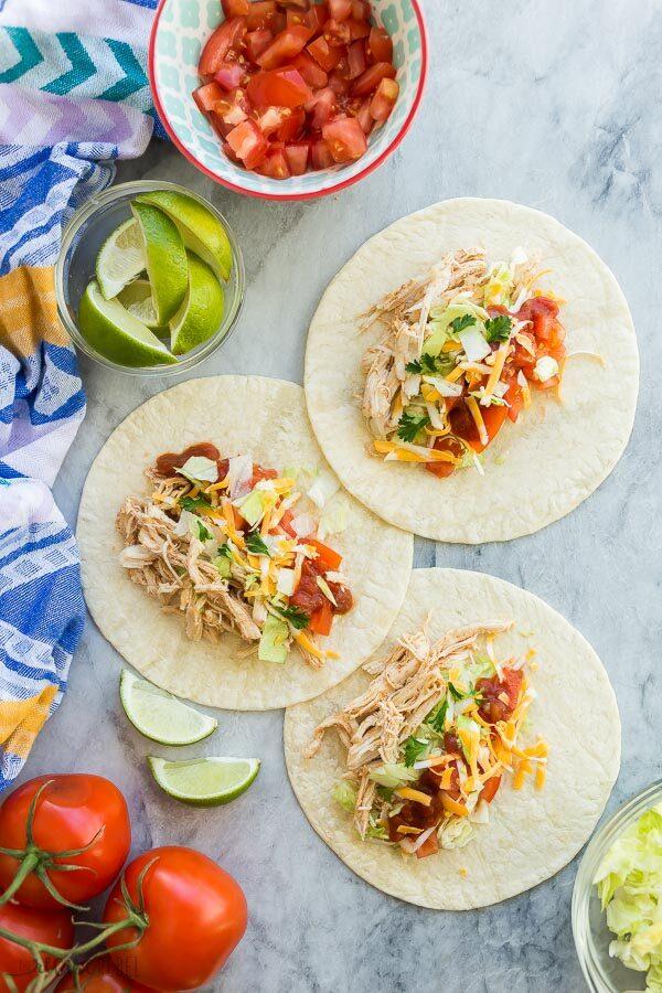 instant pot chicken tacos on flour tortillas