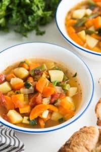 instant pot vegetable soup close up