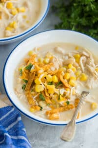 instant pot white chicken chili close up