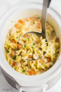 slow cooker creamy chicken noodle soup scoop