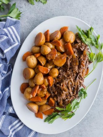 slow cooker pot roast on platter