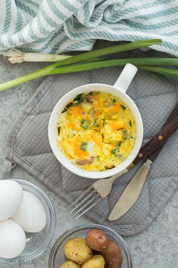 easy breakfast casserole in a white mug