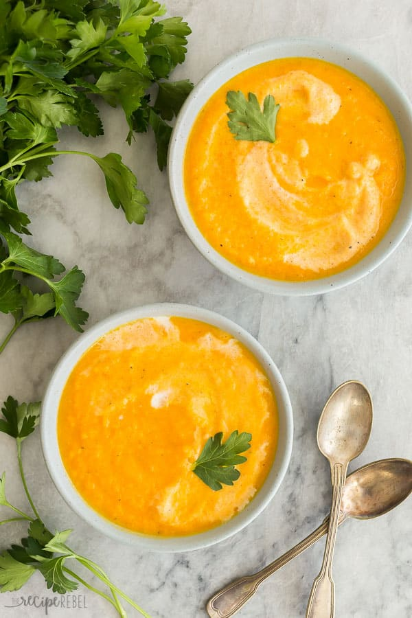 carrot soup overhead in bowls