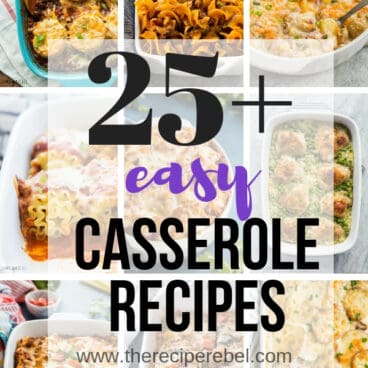 These Easy Casserole Recipes are hearty, comforting, and perfect for prepping ahead! Some are freezer friendly, and all are family friendly! #casserole #dinner #recipe #easyrecipe #makeahead
