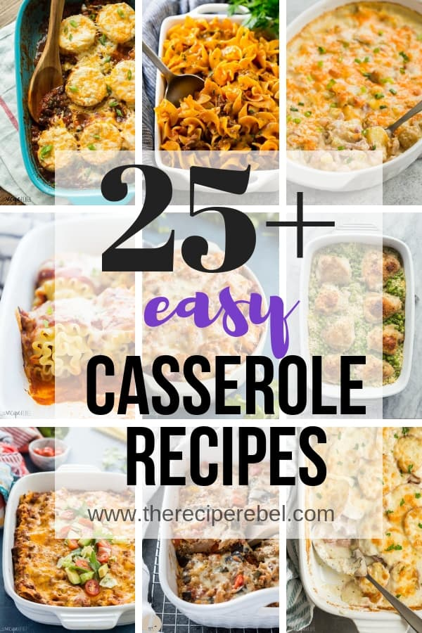 easy casserole recipes collage 2 with multiple images and black and purple text