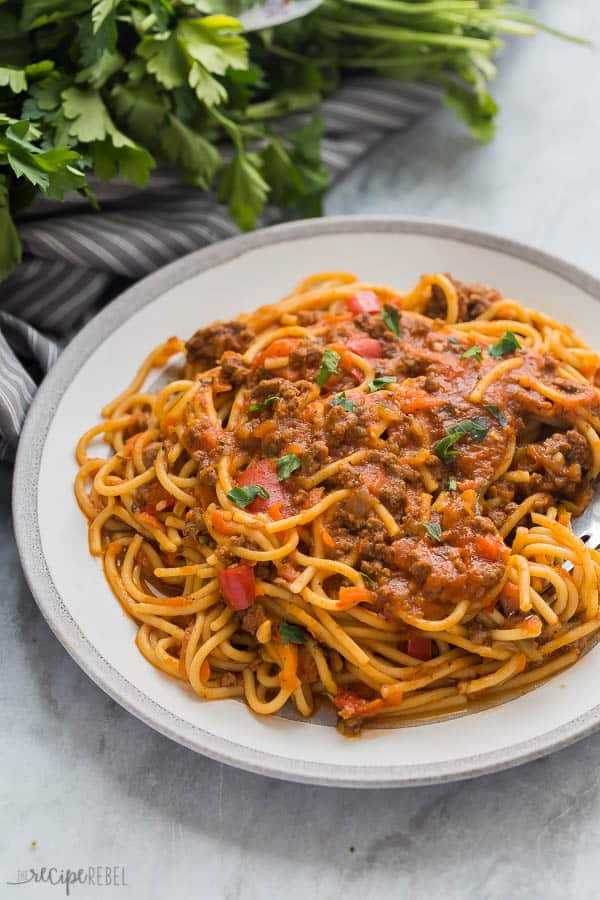 instant pot spaghetti healthy close up