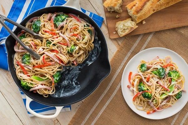 catelli creamy spaghetti overhead in cast iron skillet