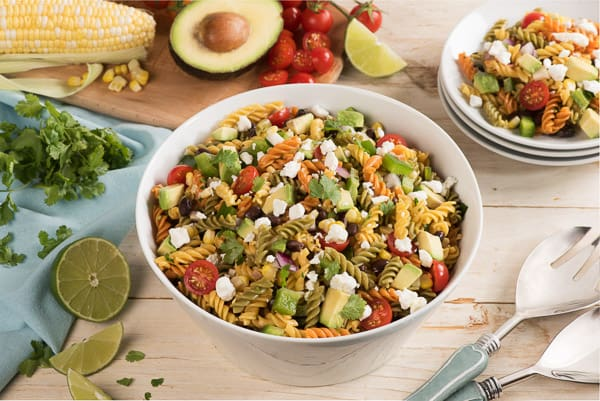 taco pasta salad in bowl