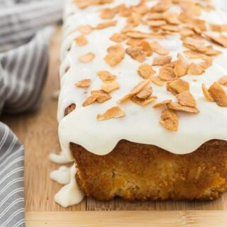 coconut bread with cream cheese glaze whole