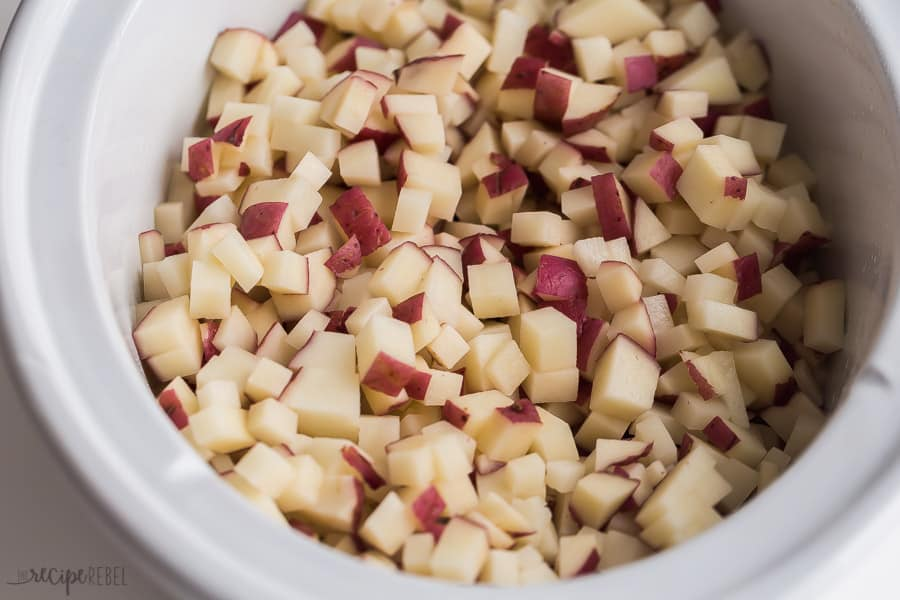 crockpot potatoes chopped and raw with peel in slow cooker