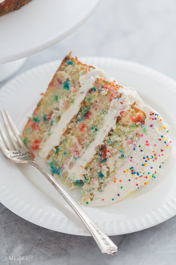 slice of funfetti cake close up