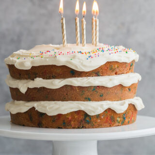 funfetti cake with birthday candles