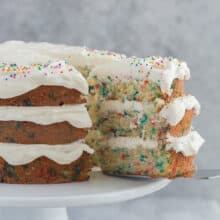 funfetti cake with slice out
