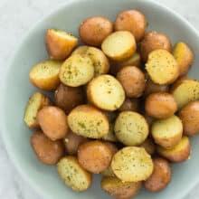 garlic instant pot potatoes overhead on plate