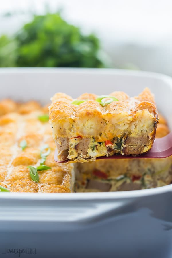 tater tot breakfast casserole scoop