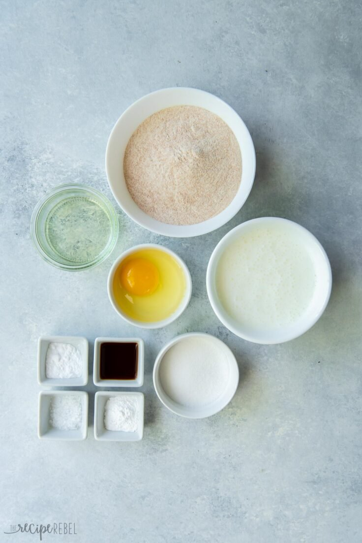 ingredients measured out for whole wheat pancakes