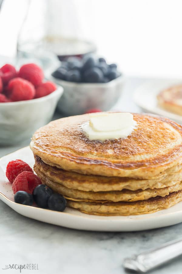 fluffy whole wheat pancakes in a stack