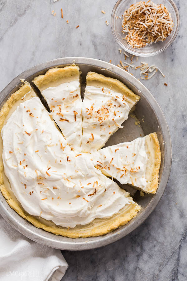 coconut cream pie whole sliced