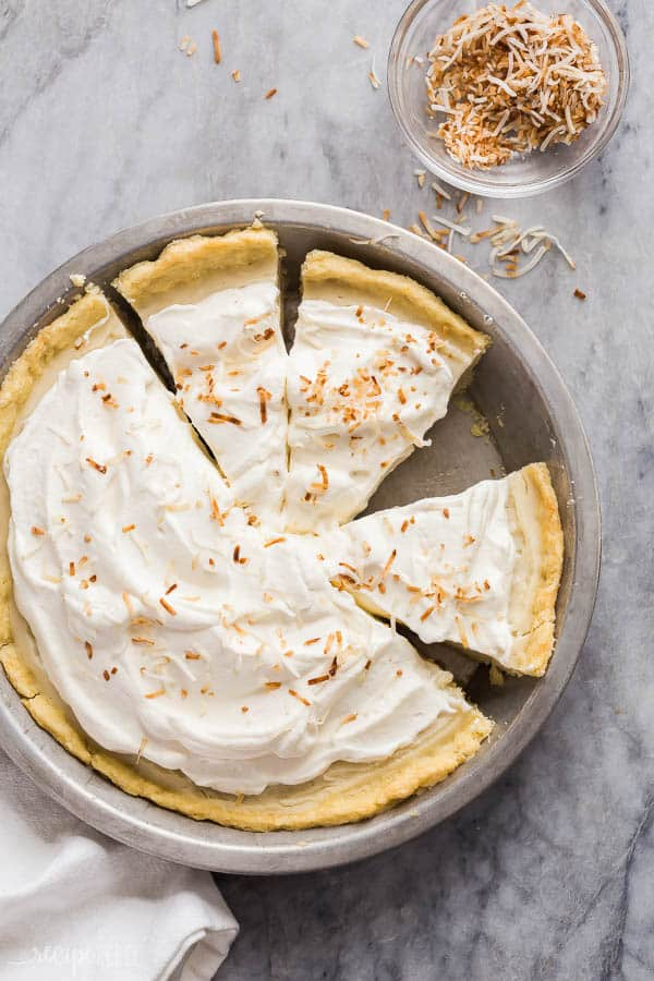 coconut cream pie whole sliced