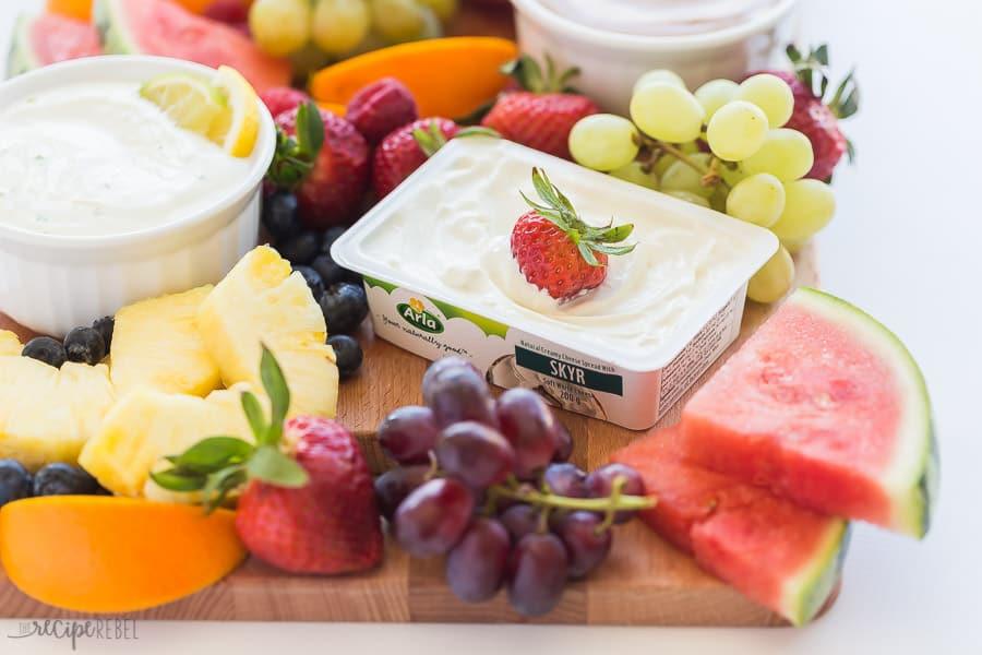 skyr yogurt cream cheese fruit dip