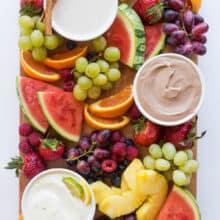 cream cheese fruit dip flavors on fruit platter