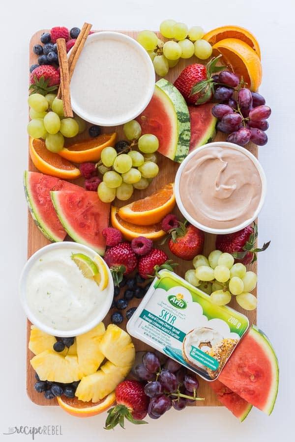 cream cheese fruit dip platter
