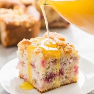 rhubarb cake with warm vanilla sauce