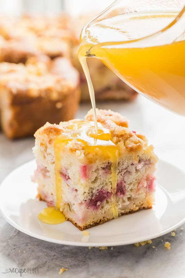 Rhubarb Cake With Vanilla Sauce The Recipe Rebel