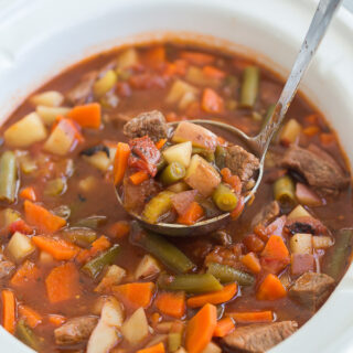 crockpot vegetable beef soup in slow cooker