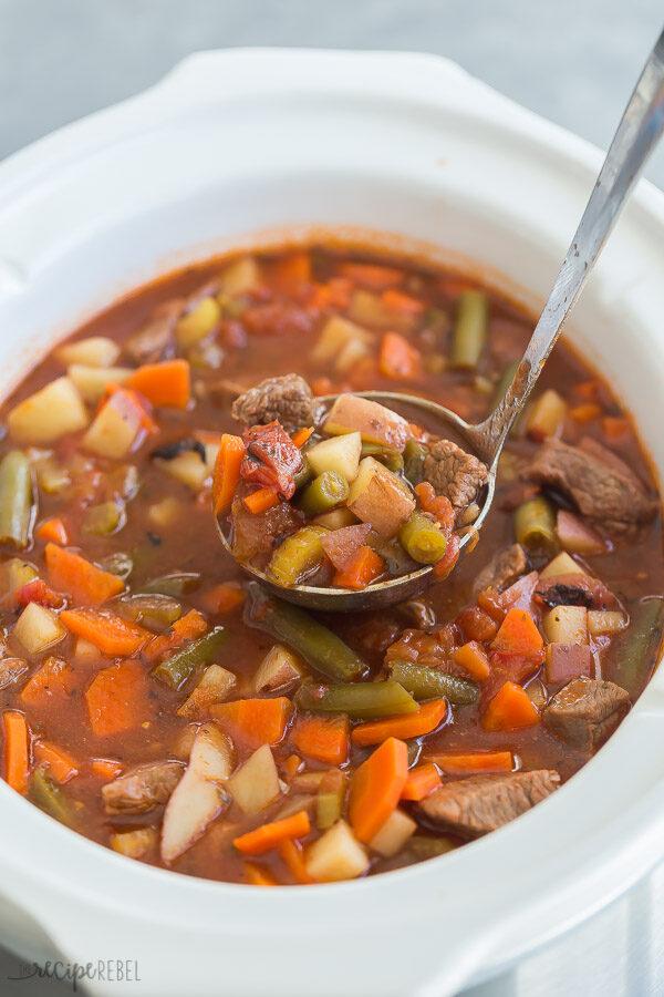 crockpot vegetable beef soup in slow cooker