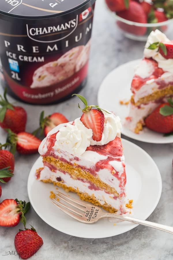 strawberry shortcake ice cream cake slice with chapmans strawberry shortcake ice cream container