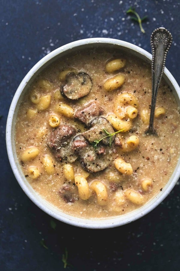 bowl of beef stroganoff soup
