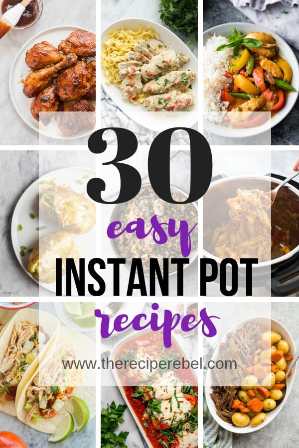 easy instant pot recipes collage with 9 images and title in black and purple